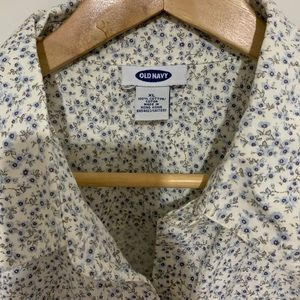 Flowery button up blouse